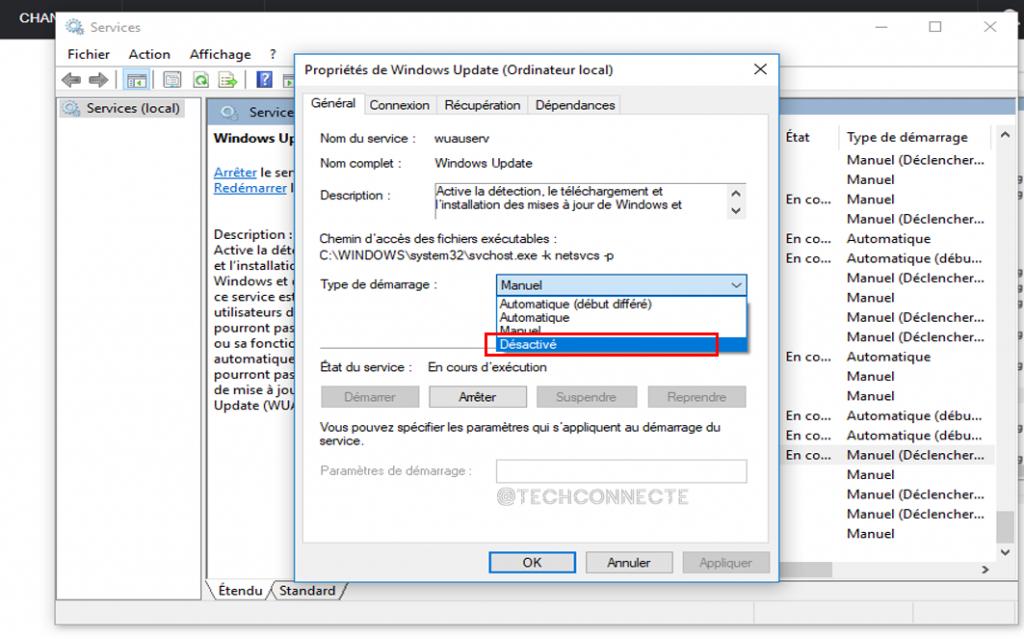 Désactiver Windows Update