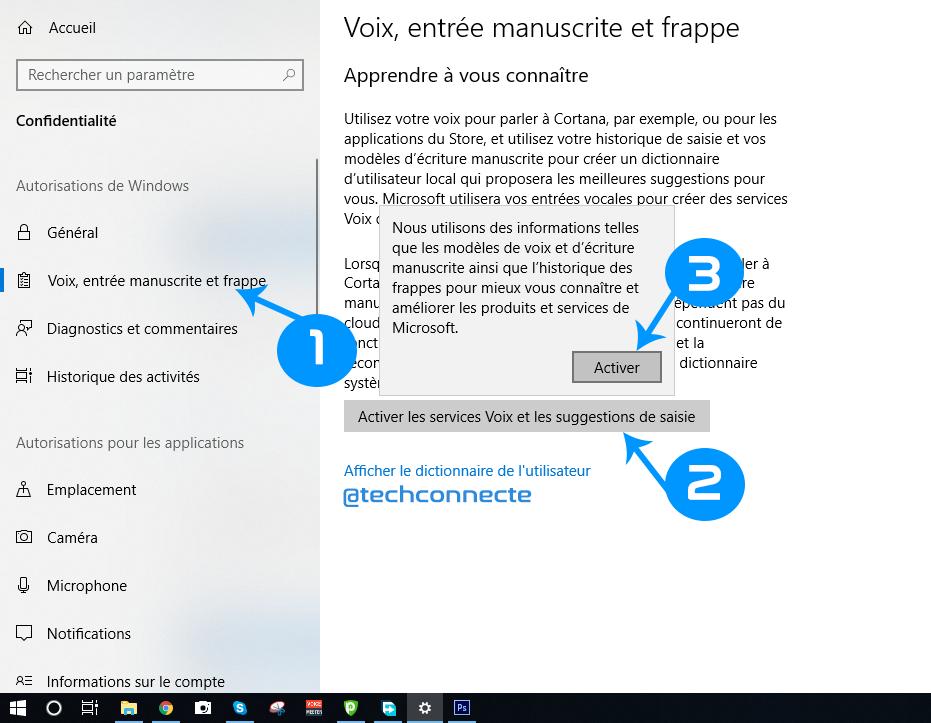 Paramétres de confidentialités wondows 10, Cortana
