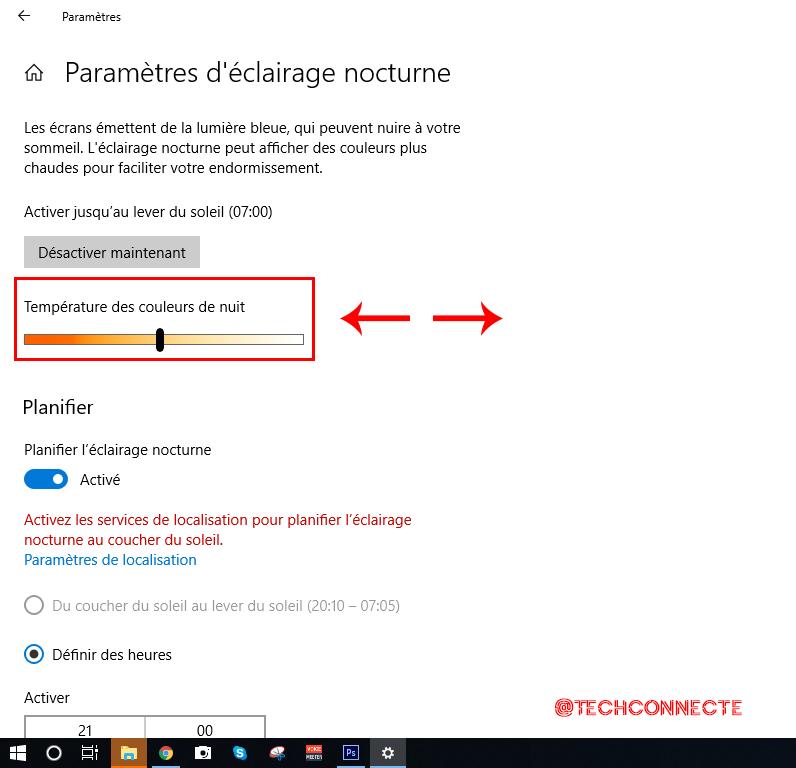 Paramètres éclairage nocturne Windows 10