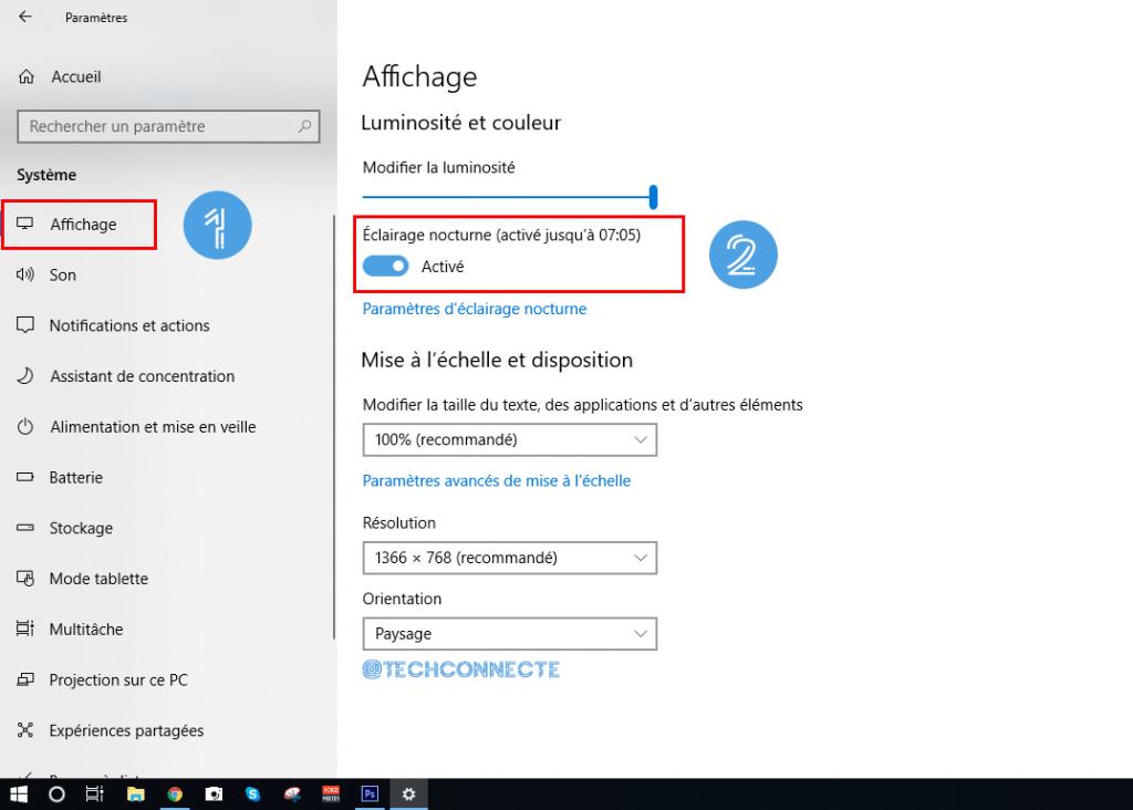 Eclairage Nocturne Windows 10