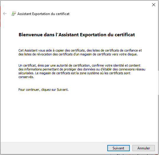 Cryptage de dossier Windows 10 - Assistant d'exportation de certification