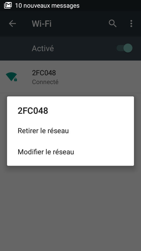 Réglage Wifi Android